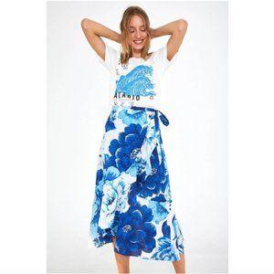 FARM Rio Azulejo Tile Midi Wrap Skirt Blue Floral